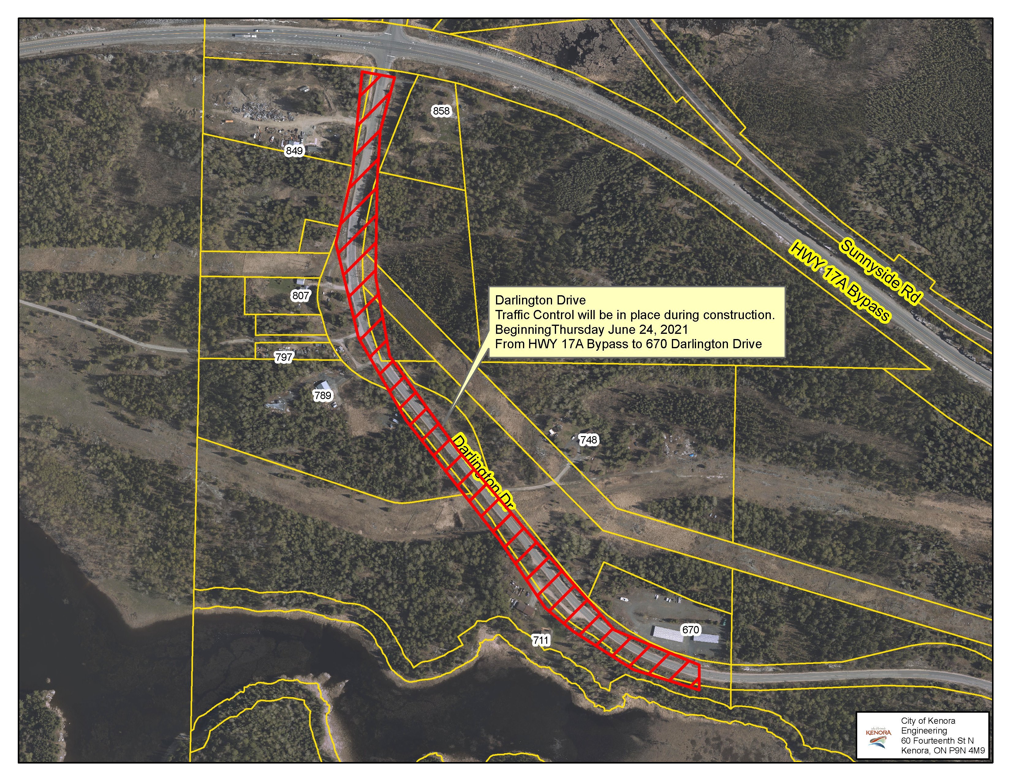 aerial view of highway paving work area