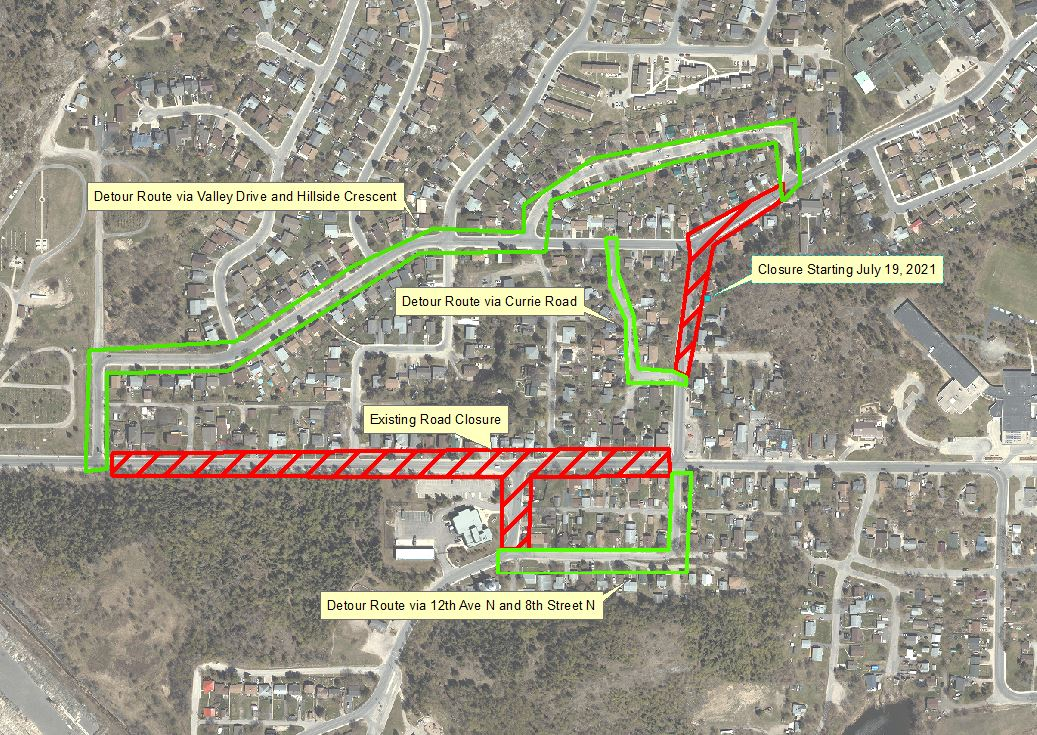 aerial view of construction area and detour routein red