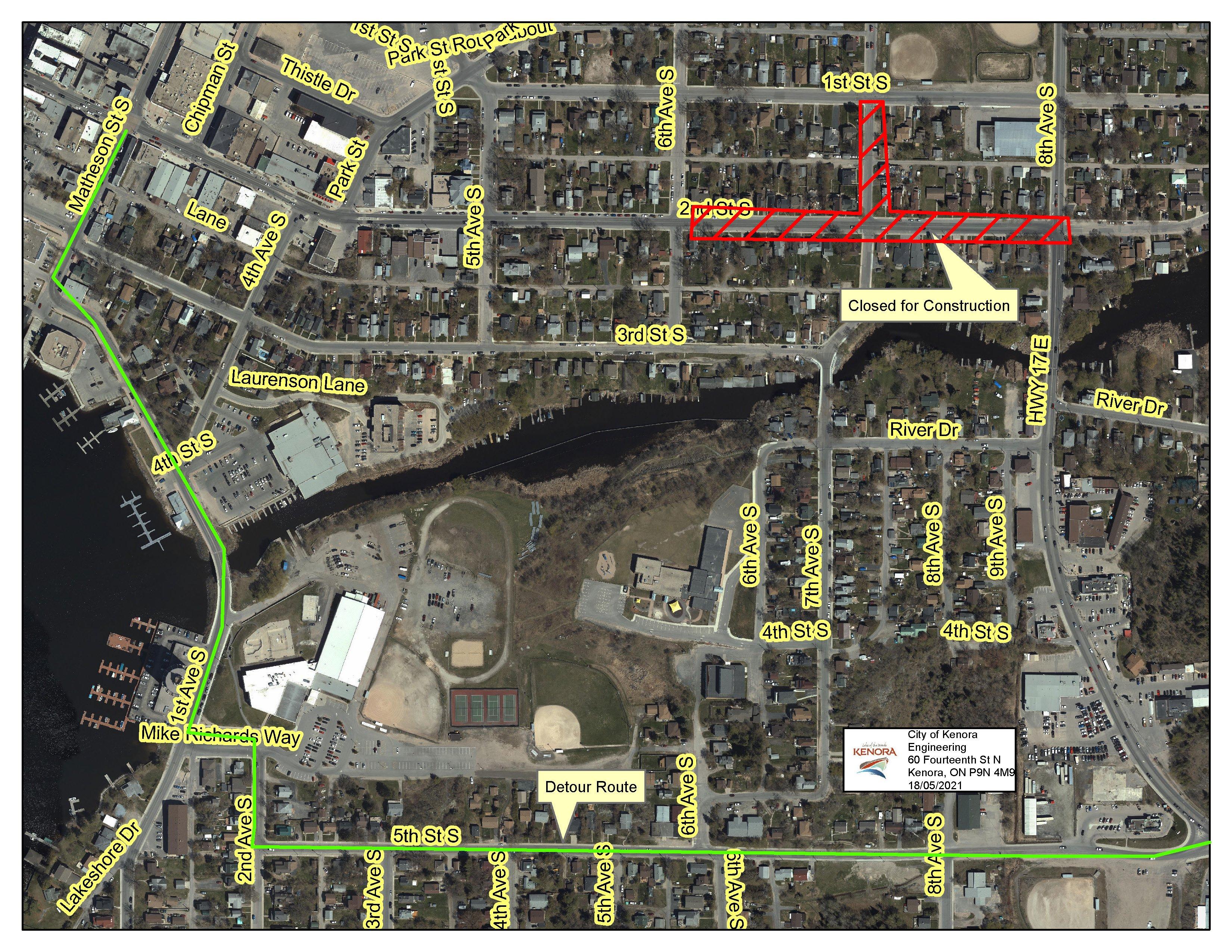 aerial view of road closure area