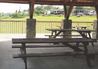 picnic tables at RV park