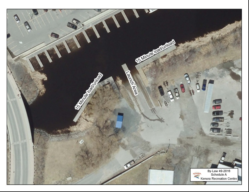 aerial view of docking and parking lot